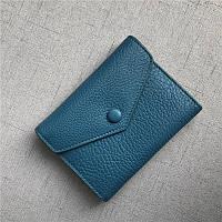 Мини кошелек клапан конверт, застежка на кнопке + отдел для мелочи / натуральная кожа (10245) Синий