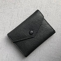 Мини кошелек клапан конверт, застежка на кнопке + отдел для мелочи / натуральная кожа (10245) Черный