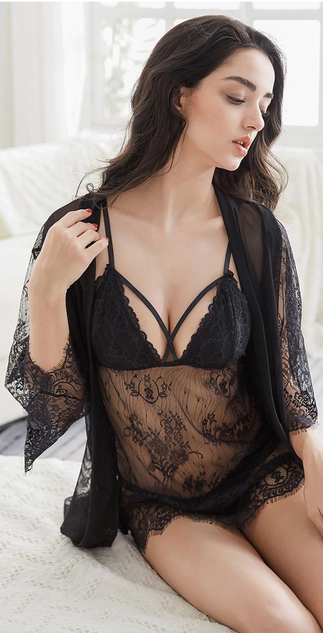 Комплект из 3х предметов кружевной эротический. Набор - пеньюар, халат, трусики, размер L (черный)