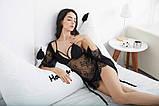 Комплект из 3х предметов кружевной эротический. Набор - пеньюар, халат, трусики, размер L (черный), фото 5