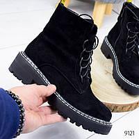 Ботинки женские Insane черные 9121 замша, фото 1