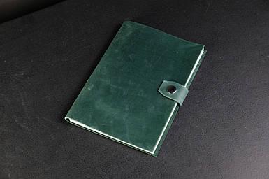 Блокнот в шкіряній обкладинці формату А5 Вінтажна шкіра колір Зелений