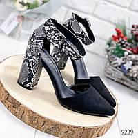 Туфли женские Cecilia черные+питон 9239, фото 1