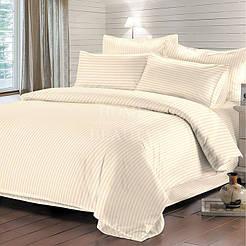 Комплект постельного белья Отель страйп-сатин бежевый полуторный