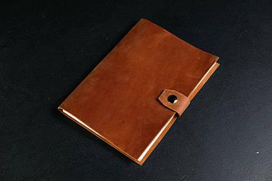 Блокнот в шкіряній обкладинці формату А5 Вінтажна шкіра колір Коньяк
