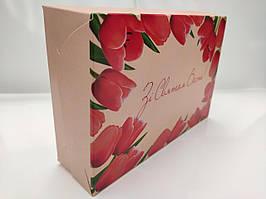 """Коробка """"Зі святом весни""""для эклеров, размер 225*150*60мм"""