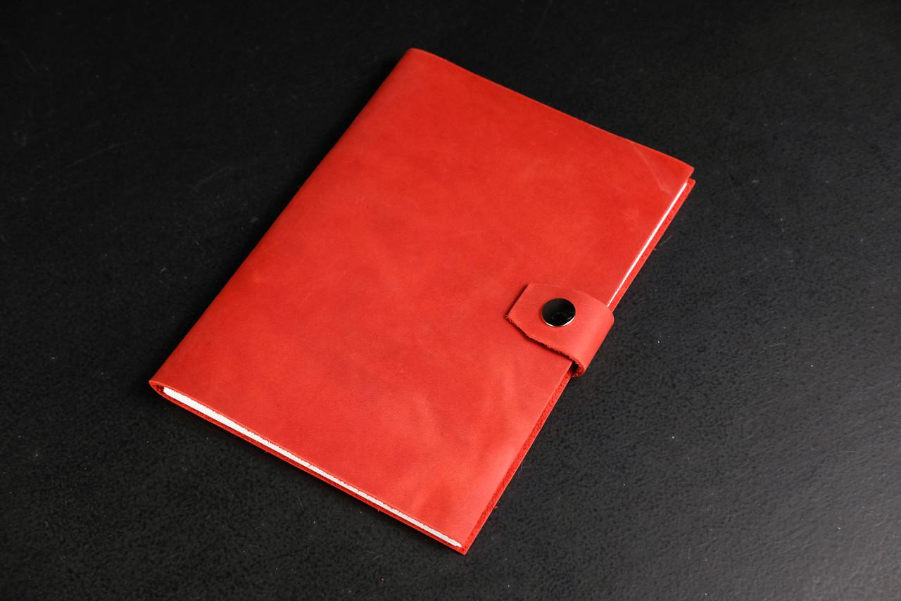 Купить Блокнот в кожаной обложке формата А5 Винтажная кожа цвет Красный, Berty