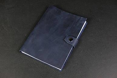 Блокнот в шкіряній обкладинці формату А5 Вінтажна шкіра колір Синій