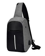 Городской рюкзак антивор Bobby Mini с защитой от карманников и USB-портом, серый