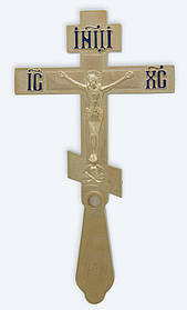 Хрест напрестольний 3-2 малий. золоч. з мощевиком