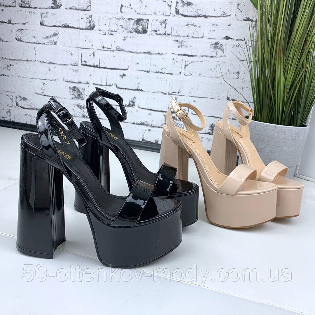 Женские босоножки на толстом каблуке 14 см, платформа 5,5 см