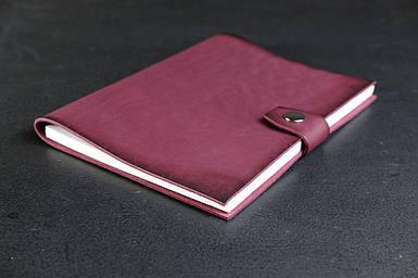 Блокнот в шкіряній обкладинці формату А5 Італійський краст колір Бордо