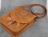 Кожаная сумка-планшет для документов, большая светло коричневая сумка А4