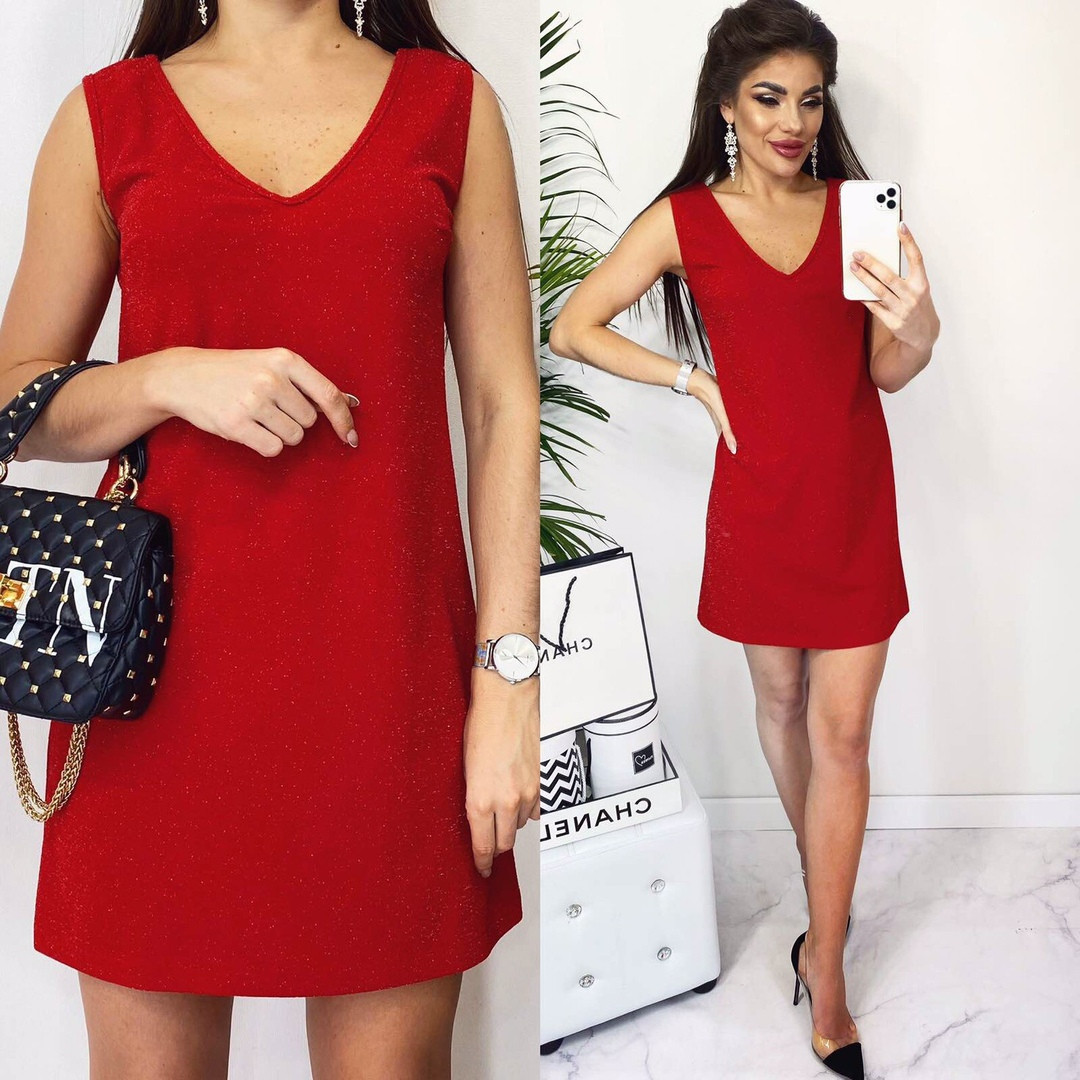 Платье женское нарядное, вечернее, люрекс на трикотаже, короткое, ровное, модное, эффектное, стильное