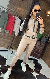 """Женский стильный костюм-двойка в стиле """"Fendi"""": мастерка и штаны с лампасами (в расцветках)"""