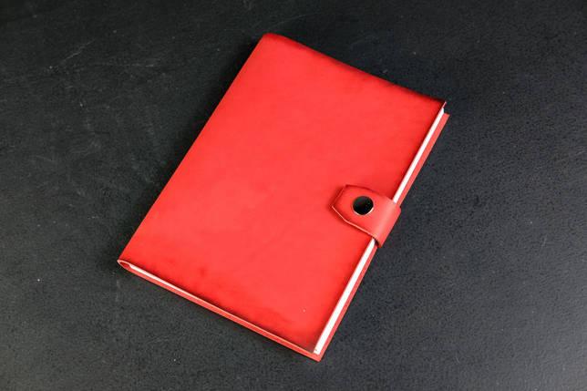 Блокнот в шкіряній обкладинці формату А5 Італійський краст колір Червоний, фото 2