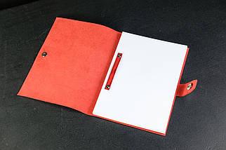 Блокнот в шкіряній обкладинці формату А5 Італійський краст колір Червоний, фото 3