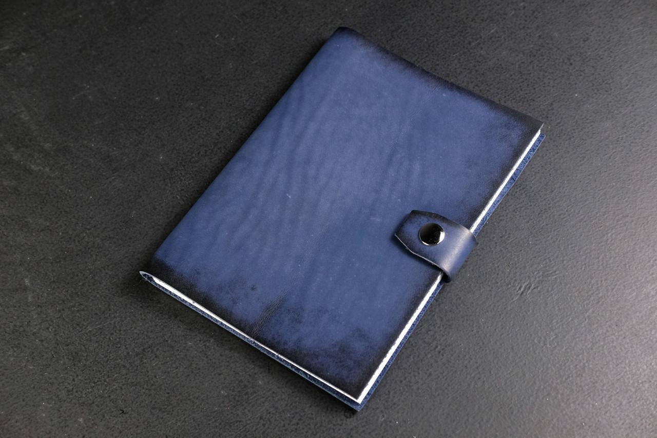 Блокнот в кожаной обложке формата А5 Итальянский краст цвет Синий