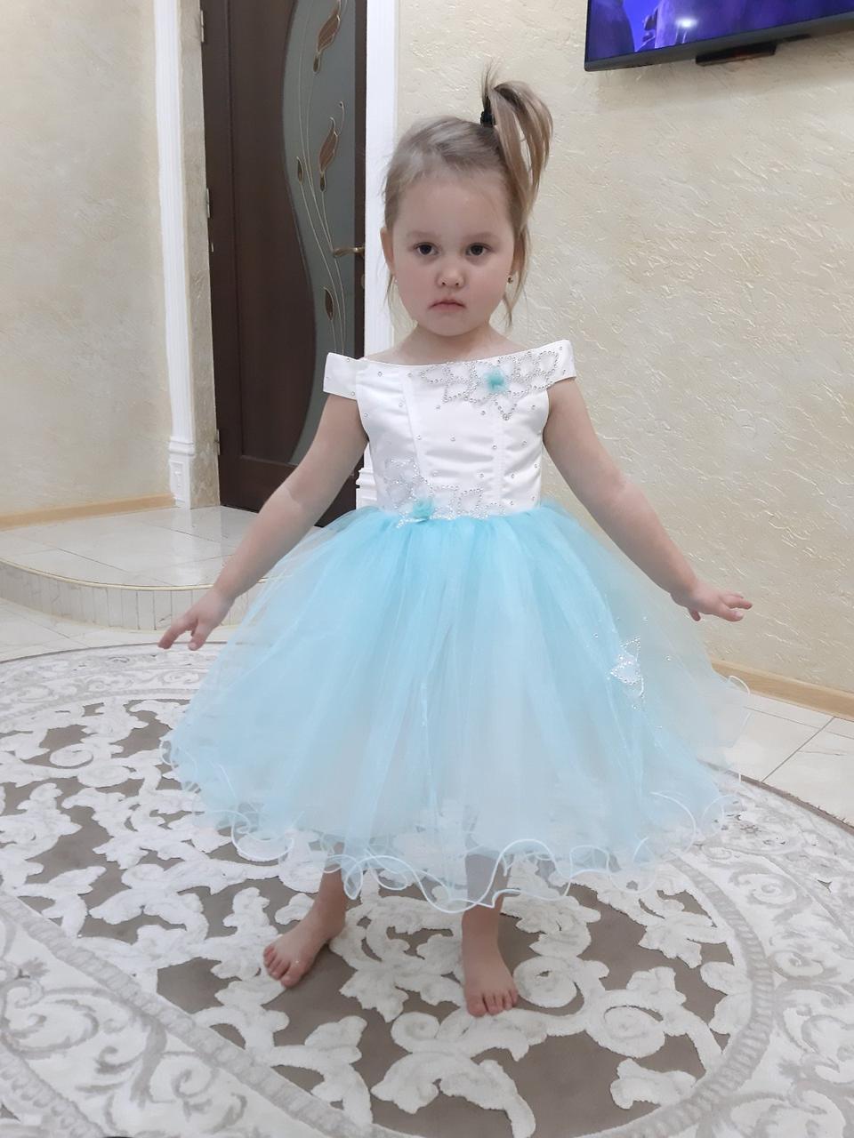"""Детское бело - голубое  платье """"Милашка"""""""