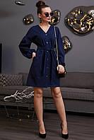 Красивое повседневное замшевое платье с поясом 42-48 размера синее