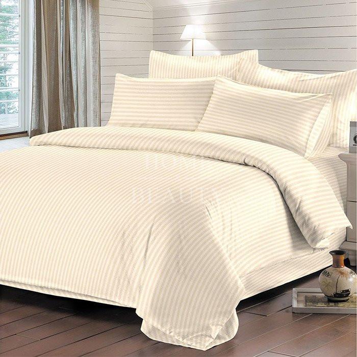 Комплект постельного белья Отель страйп-сатин бежевый евро