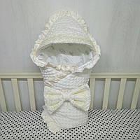 Плюшевый конверт-плед Минки на выписку из роддома. Молочный