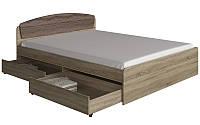 Кровать двуспальная Астория с 2-мя ящиками и матрасом сонома + трюфель Эверест (165х203х79 см)