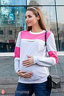 Модный трикотажный свитшот для беременных и кормящих в стиле color-block SAVERINE SW-39.012