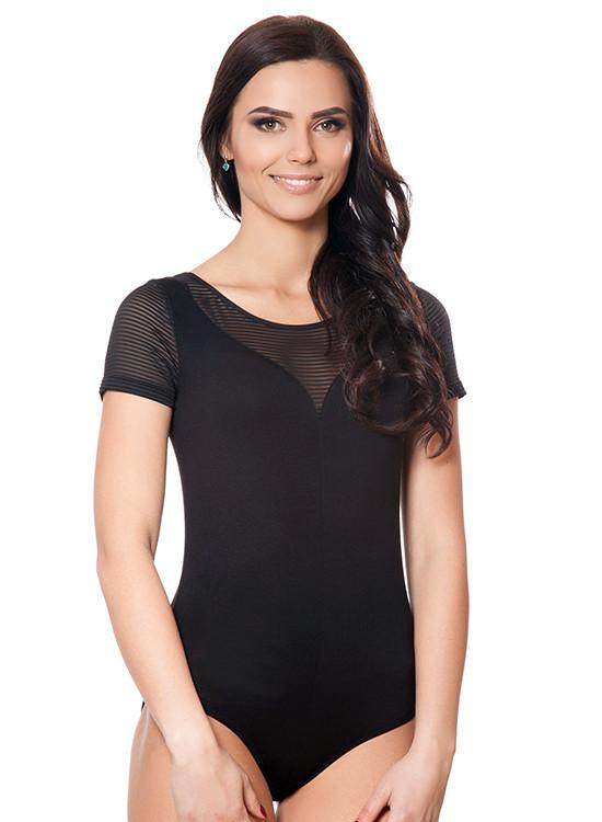 Черное женское боди футболка с полупрозрачными вставками (S-2XL) размер S