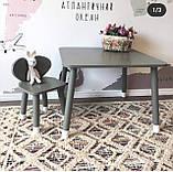 Дитячий стіл і 2 стілець (дерев'яні стільчики ведмедики і прямокутний стіл), фото 2