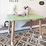 Дитячий стіл і 2 стілець (дерев'яні стільчики ведмедики і прямокутний стіл), фото 3
