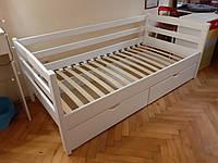 Кровать детская подростковая полуторная Лиза из натурального дерева, кровать кушетка, нота