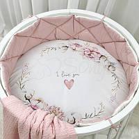 "Простынь на резинке на круглую кроватку ""Heart and flowers"" 70/70 см"