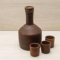 Бутыль из красной глины 1л + 3 рюмки, фото 1