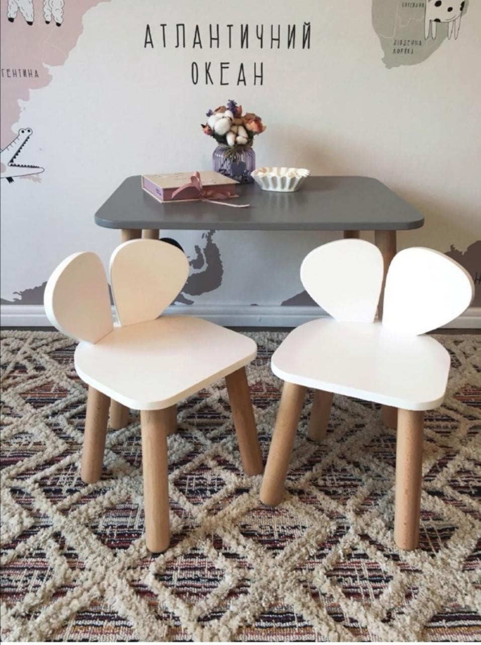 Дитячий стіл і 2 стілець (дерев'яні стільчики ведмедики і прямокутний стіл)