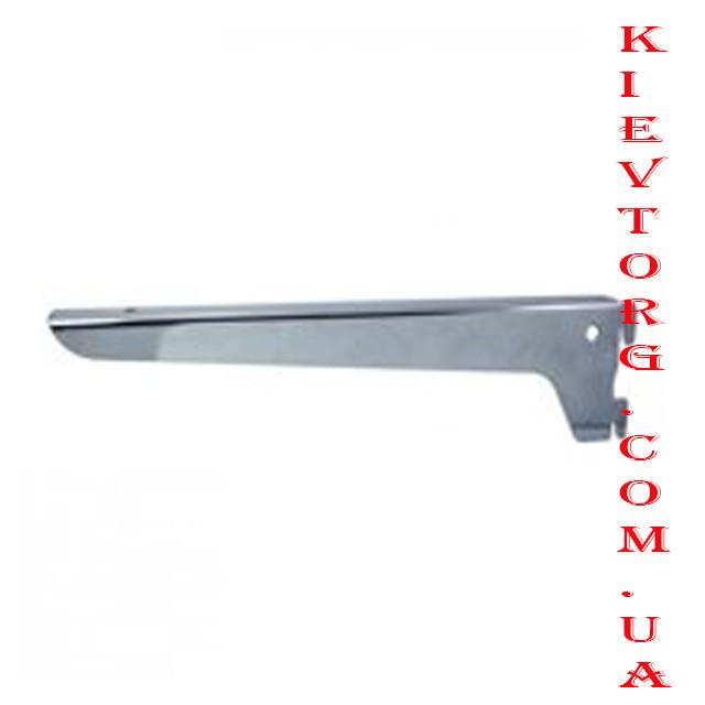 Полкодержатель (кронштейн для полок) в рейку хром 40 см толстый метал для магазина