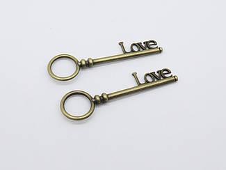 Металевий ключик. LOVE. 8х2.5см