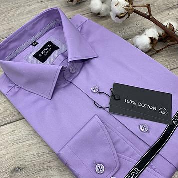 Рубашка мужская 100% хлопковый сиреневый сатин  ТМ INGVAR