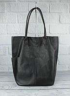 Кожаная сумка-шоппер с клатчем внутри Vera pelle 2557 черная, Италия, фото 1
