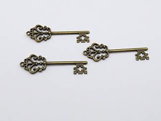 Металлические накладки. Ключик. Цвет античная бронза. 18х58мм