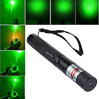 Указка LASER 303 GREEN, Лазерная указка с насадками, Зеленый луч, Мощный лазерный луч, Лазер прицел