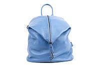 Женский рюкзак из натуральной кожи. Цвет: Голубой, фото 1