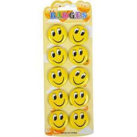 "Значки ""Смайл"" желтые 3 см"