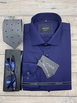Рубашка мужская 100% хлопковый синий сатин  ТМ INGVAR