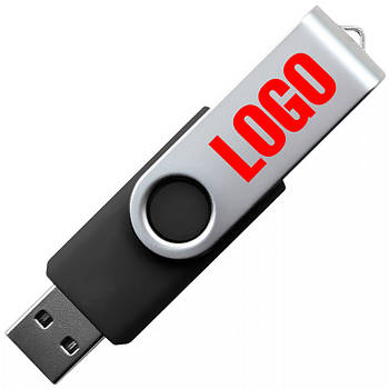 """Флешка """"Твистер"""" черная под логотип 16 Гб (0801-3-16-Гб)"""