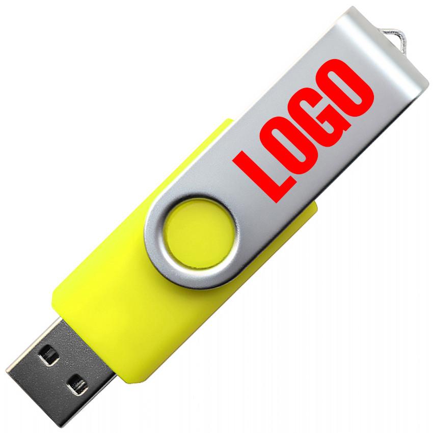 """Флешка """"Твистер"""" пластиковая под печать желтая 64 Гб (0801-5-64-Гб)"""