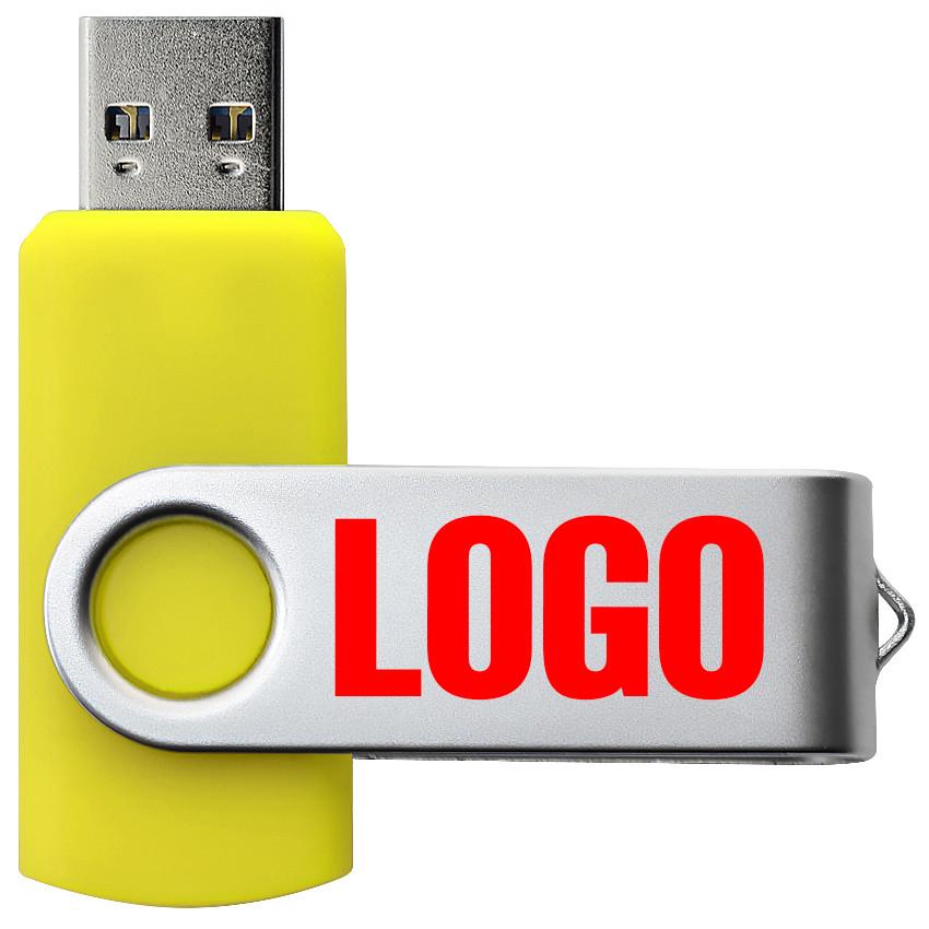 """Флешка 3.0 """"Твистер"""" пластиковая желтая под печать 32 Гб (0801-5-3.0-32-Гб)"""