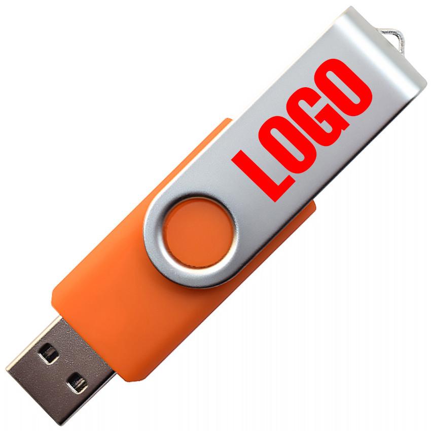 """Флешка """"Твистер"""" оранжевая под логотип 16 Гб (0801-6-16-Гб)"""