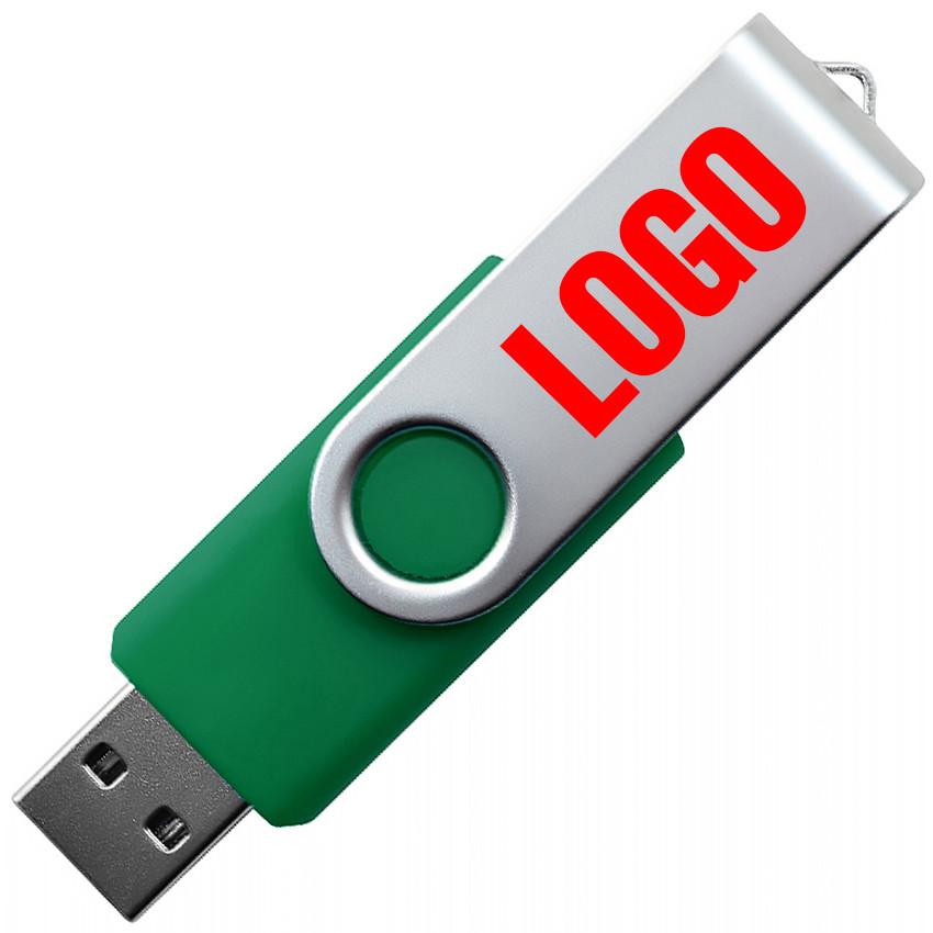 """Флешка """"Твистер"""" зеленая с нанесением лого 32 Гб (0801-7-32-Гб)"""