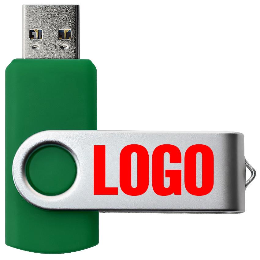 """Флешка 3.0 """"Твистер"""" пластиковая зеленая под печать 32 Гб (0801-7-3.0-32-Гб)"""